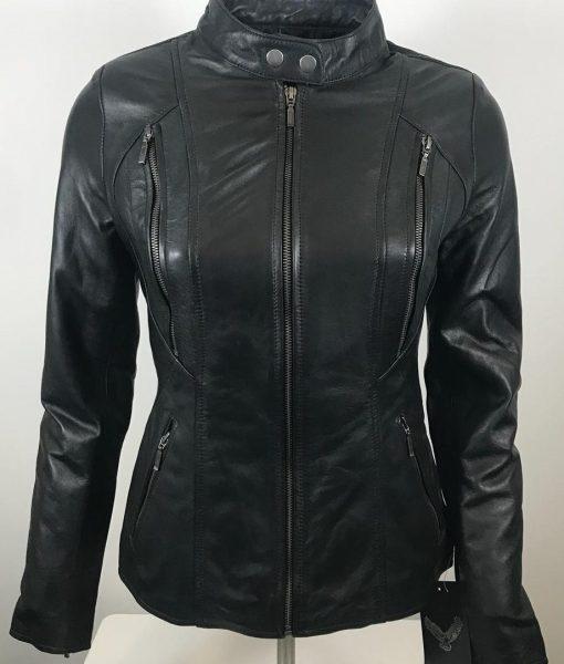 RBM-dames biker jas zwart 490