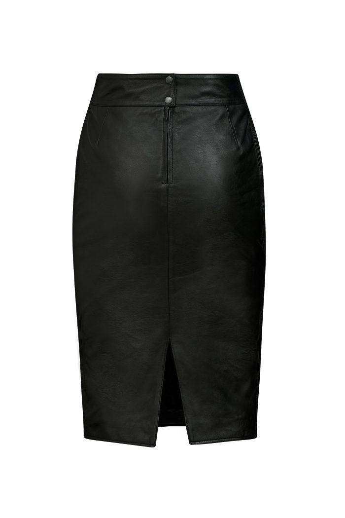 Chinco - VERA zwart lang leren rok