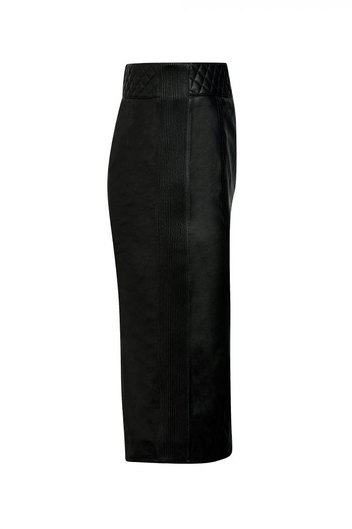ZARA Leren rok lang zwart