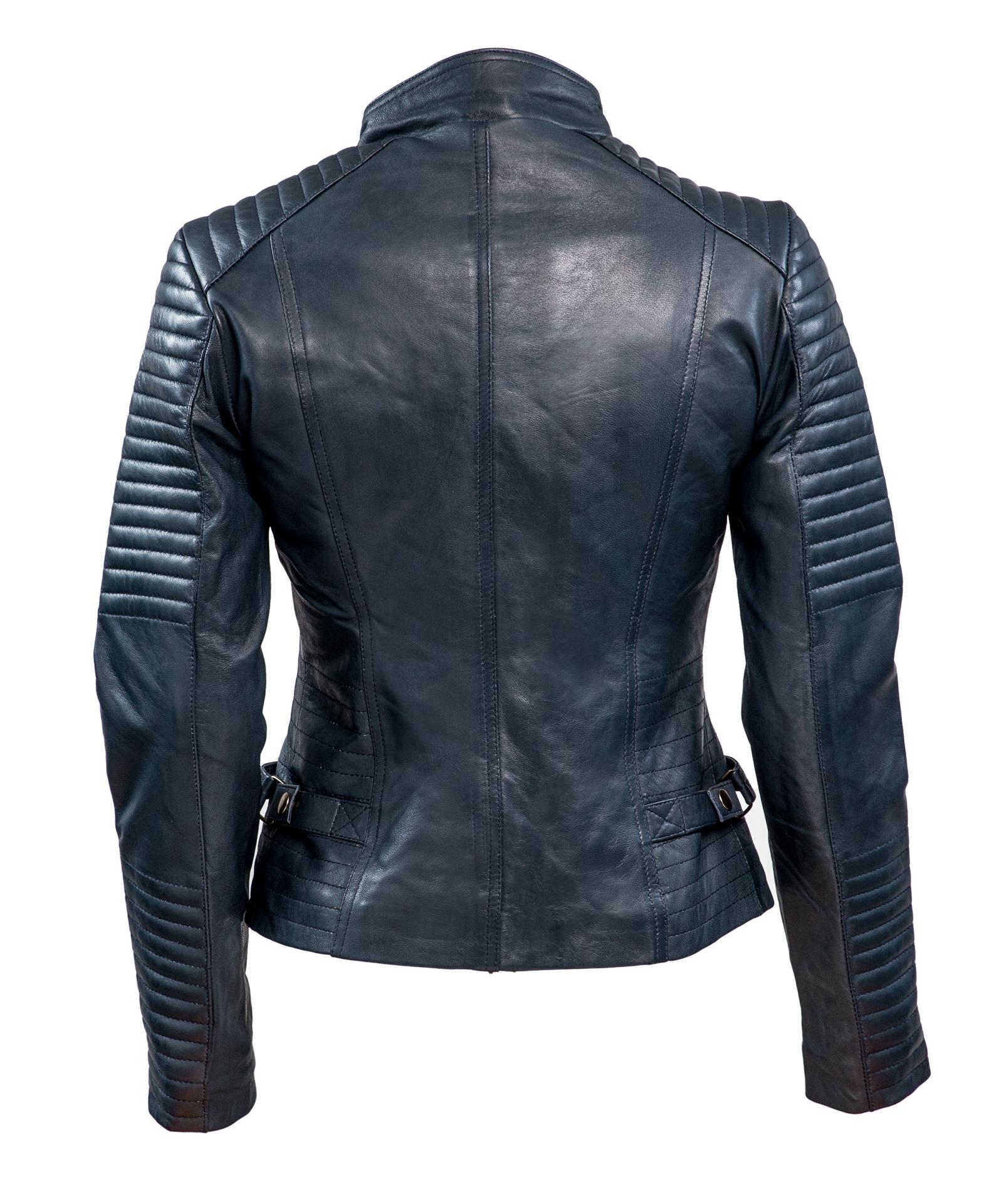 348 biker jack blauw dames