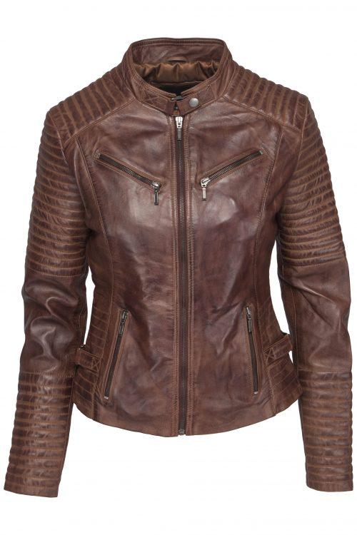 348 biker jack cognac dames