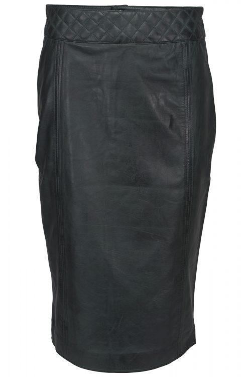 Chinco - LIZE groen lang leren rok met quilting stikwerk