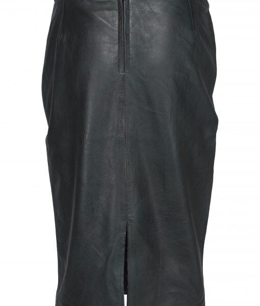 Chinco - LIZE zwart lang leren rok met quilting stikwerk