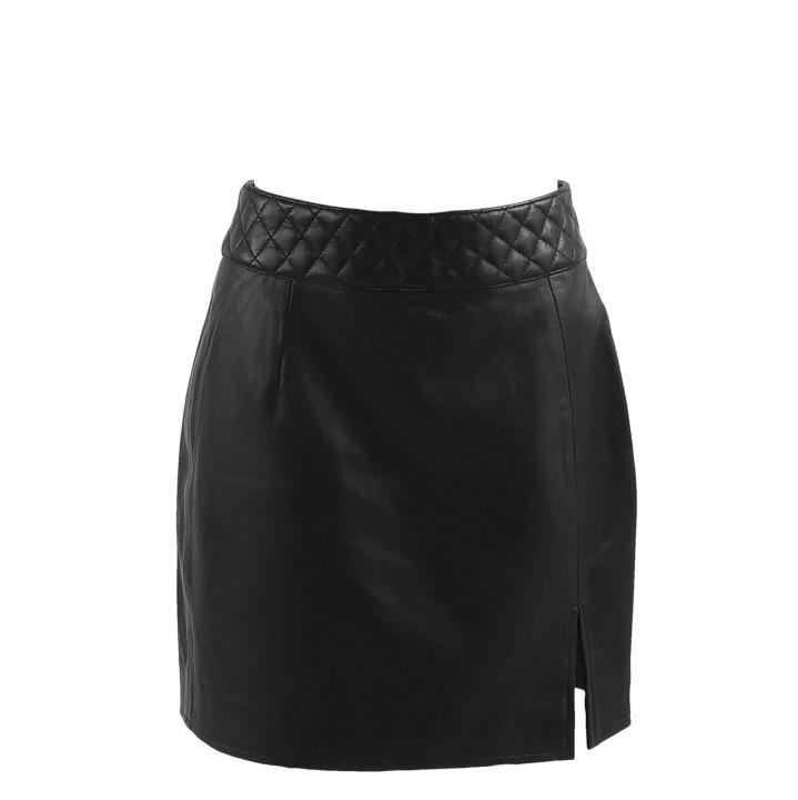 EXA kort leren rok zwart